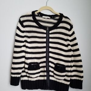 LOFT black and off white striped chunky zip up